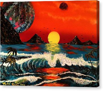 Canvas Print featuring the painting Outer Worlds by Michael Rucker
