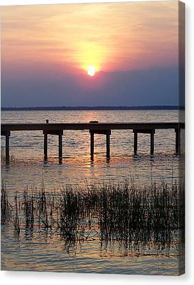 Canvas Print featuring the photograph Outerbanks Nc Sunset by Sandi OReilly