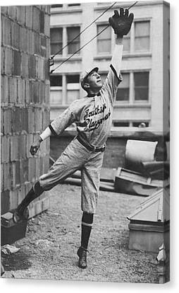 Baseball Glove Canvas Print - Outfielder Challenges by Underwood Archives