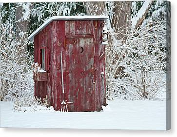 Outhouse Garden Shed In Winter, Marion Canvas Print by Panoramic Images