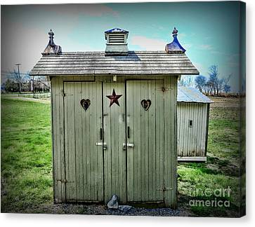 Outhouse - His And Hers Canvas Print by Paul Ward