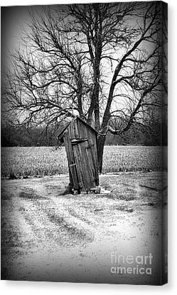Outhouse In The Snow Canvas Print by Paul Ward