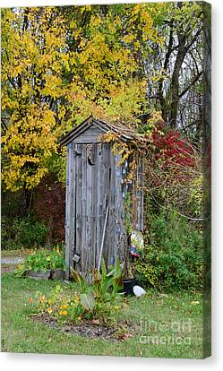 Outhouse Surrounded By Autumn Leaves Canvas Print by Paul Ward