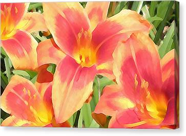 Outrageous Lilies Canvas Print by Jean Hall