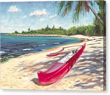 Outrigger - Haleiwa Canvas Print by Steve Simon
