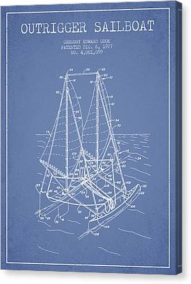 Sail Boats Canvas Print - Outrigger Sailboat Patent From 1977 - Light Blue by Aged Pixel