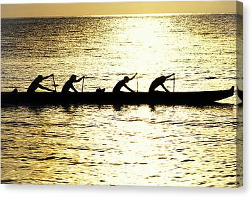 Outrigger Silhouettes Canvas Print by Sean Davey