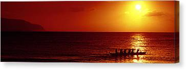 Outrigger Sunset Canvas Print by Sean Davey