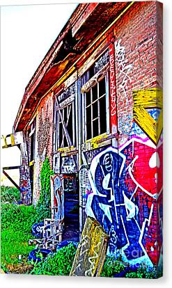 Outside An Entrance To The Old Train Roundhouse At Bayshore Near San Francisco Altered  Canvas Print by Jim Fitzpatrick