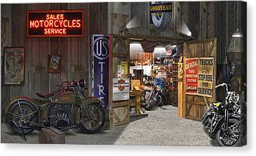 Outside The Motorcycle Shop Canvas Print