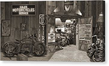 Sepia Tone Canvas Print - Outside The Old Motorcycle Shop - Spia by Mike McGlothlen