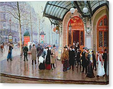 Outside The Vaudeville Theatre Canvas Print by Jean Beraud