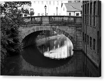 Canvas Print featuring the photograph Oval Bridge Over The River Foss York by Scott Lyons
