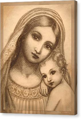 Canvas Print featuring the mixed media Oval Madonna Drawing by Ananda Vdovic