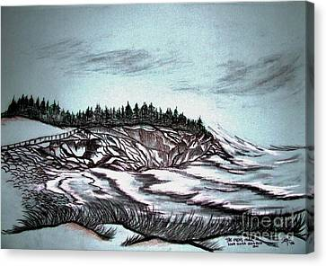 Canvas Print featuring the drawing Oven's Park Nova Scotia by Janice Rae Pariza