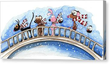 Over The Bridge They Go Canvas Print by Lucia Stewart