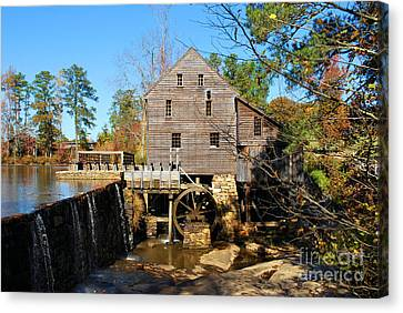 Canvas Print featuring the photograph Over The Dam At Yates Mill by Bob Sample