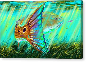 Swordfish Canvas Print - Over The Grass  by Yusniel Santos