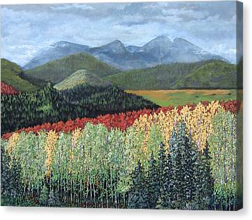 Canvas Print featuring the painting Over The Hills And Through The Woods by Suzanne Theis