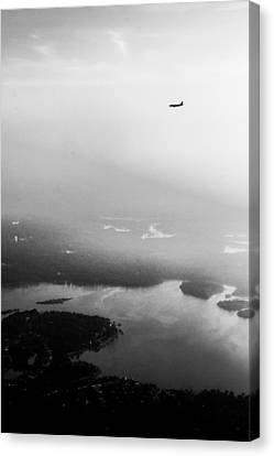 Over The Lake - Black And White Canvas Print by Shelby  Young