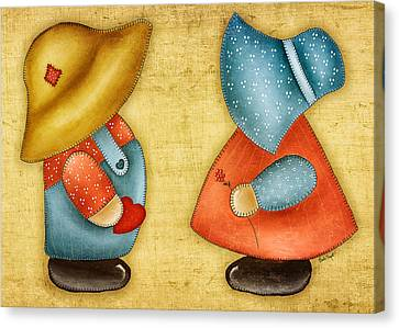 Overall Sam And Sunbonnet Sue Canvas Print