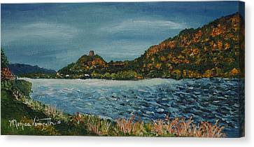Overcast At Lake Winona Canvas Print by Monica Veraguth