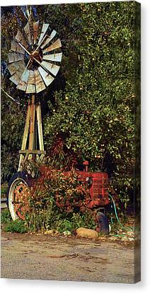 Canvas Print featuring the photograph Overgrown Tractor by Richard Stephen
