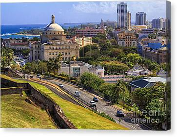 Overlooking Old San Juan Canvas Print by Mary Lou Chmura