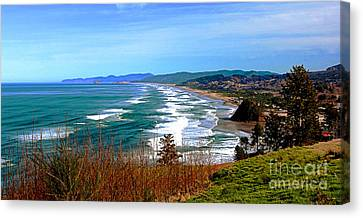 Overlooking Proposal Rock Cape Lookout Haystack Rock And Cape Kiwanda Canvas Print by Margaret Hood