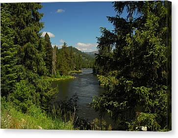 Overlooking The Lochsa River In Idaho Canvas Print by Larry Moloney
