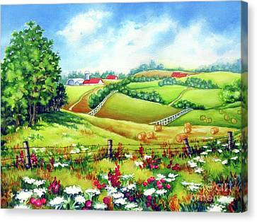 Overlooking The Meadow Canvas Print