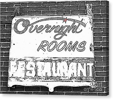 Overnight Rooms Sign Canvas Print by Nina Silver