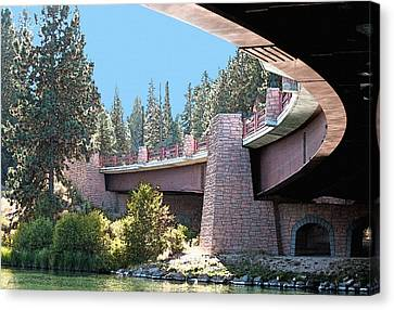 Healy Bridge Over Deschutes River Canvas Print by Gwyn Newcombe