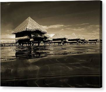 Overwater Bungalows  Canvas Print by Zinvolle Art