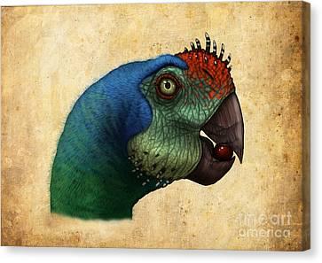 Oviraptor Head Detail Canvas Print by Alvaro Rozalen
