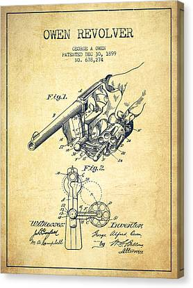 Owen Revolver Patent Drawing From 1899- Vintage Canvas Print by Aged Pixel