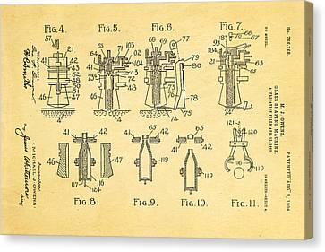 Owens Glass Shaping Machine Patent Art 1904 Canvas Print by Ian Monk