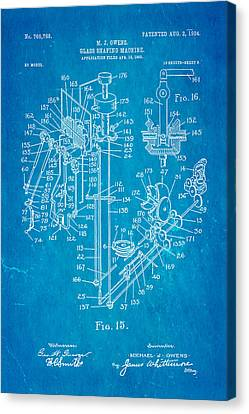 Glass Bottle Canvas Print - Owens Glass Shaping Machine Patent Art 2 1904 Blueprint by Ian Monk