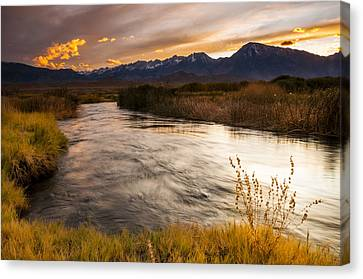 Owens River Sunset Canvas Print by Joe Doherty