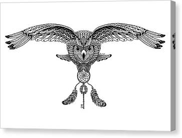 Owl And Dreams Canvas Print by Art Et Be