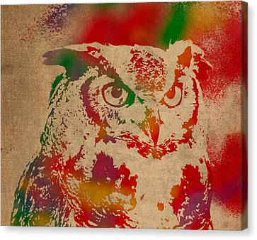 Owl Animal Watercolor Portrait On Worn Canvas Canvas Print by Design Turnpike