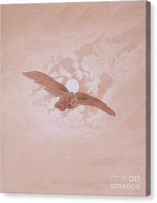 Owl Flying Against The Moon Canvas Print by Pg Reproductions