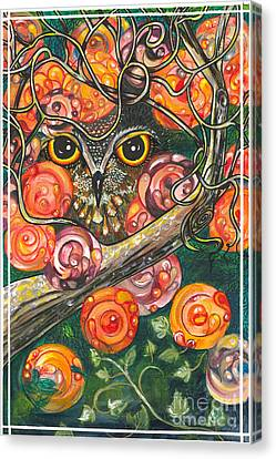 Owl In Orange Blossoms Canvas Print by M E Wood
