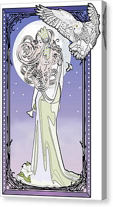 Canvas Print featuring the digital art Owl Maiden by Penny Collins