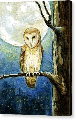 Canvas Print featuring the painting Owl Moon by Terry Webb Harshman