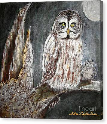 Owl Mother Canvas Print by Elena  Constantinescu
