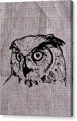 Owl On Burlap Canvas Print by Konni Jensen