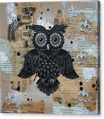 Owl On Burlap2 Canvas Print by Kyle Wood
