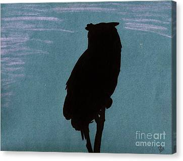 Canvas Print featuring the drawing Owl Silhouette by D Hackett