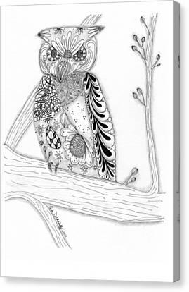 Owl Sittin Pretty Canvas Print by Paula Dickerhoff